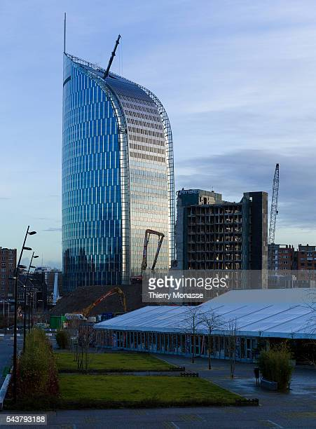 Liège Belgium January 28 2016 The Tour paradis Financial Tower of Liège and the previous finance tower of Liège The new finance tower was designed by...