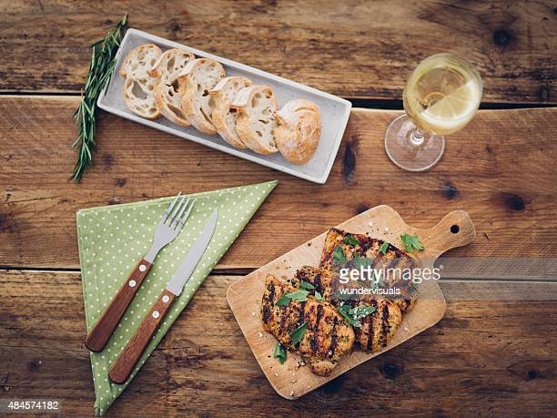 Light and healthy summer meal on a wooden table