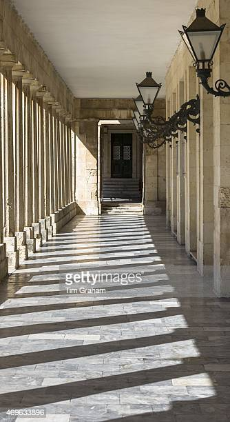 Light and shade and lanterns in corridor of Palace of St Michael and St George Museum of Asian Art in Kerkyra Corfu Town Greece