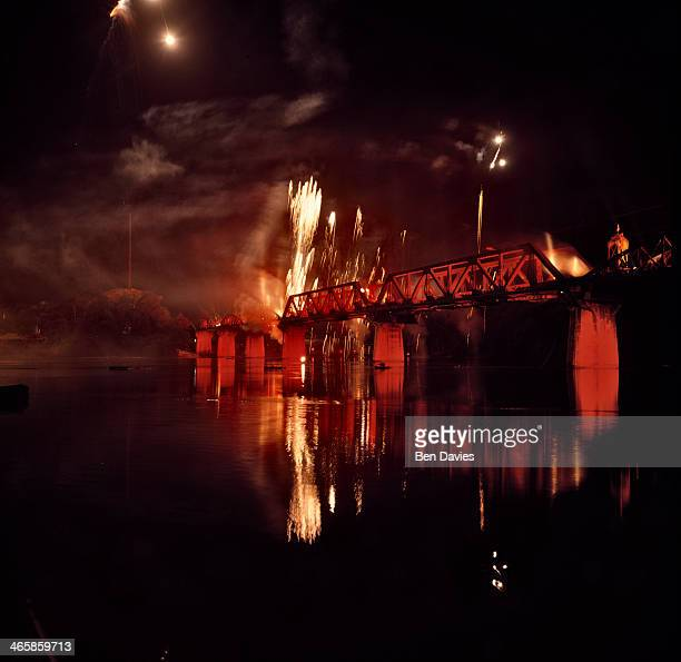 Light and sound show illuminates the infamous bridge Over the River Kwai in Kanchanaburi in Central Thailand. During the 2nd world war, countless...