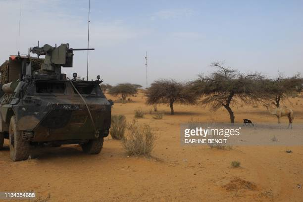 A light armored vehicle of the French force of the counterterrorism Barkhane mission in Africa's Sahel region Barkhane is parked at the roadside...