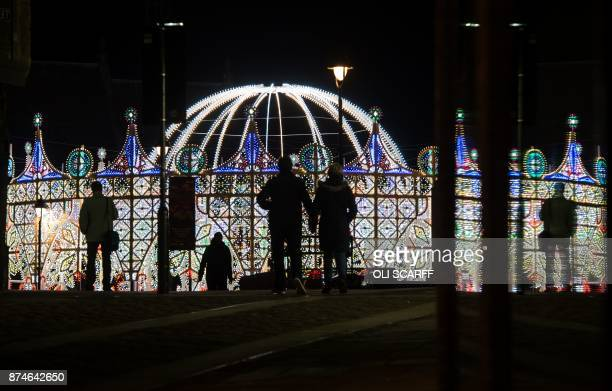 A light art installation entitled 'Dome and Arches Luminarie de Cagna' is pictured in the Market Place as part of Lumiere Durham light festival in...