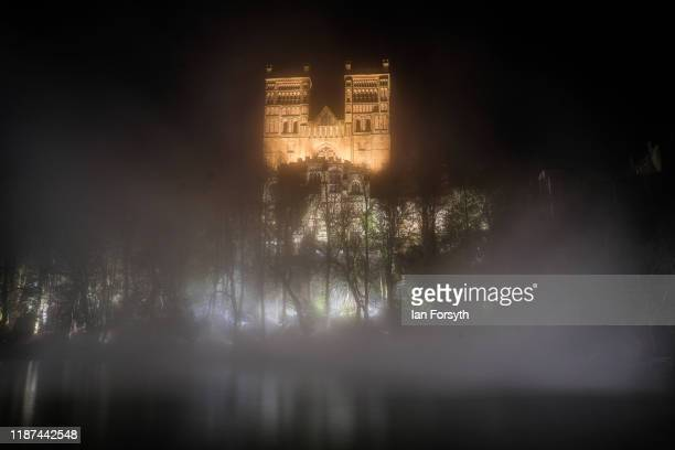 A light artwork called Fogscope a rolling nocturnal fog cascading into the River Wear is displayed during a preview evening for the tenth anniversary...