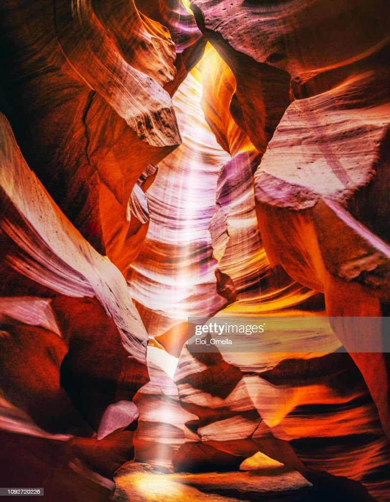 light beam at upper antelope canyon, Arizona. USA : Stock Photo