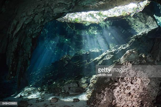 Light Beams in Gran Cenote Tulum Yucatan Peninsula Mexico