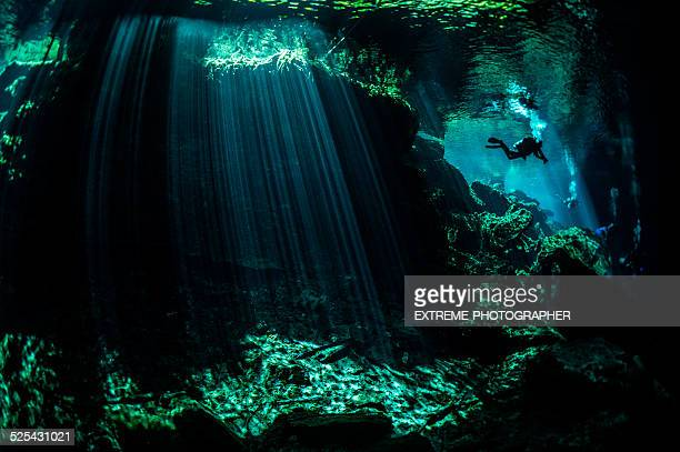 Light beams in underwater caves