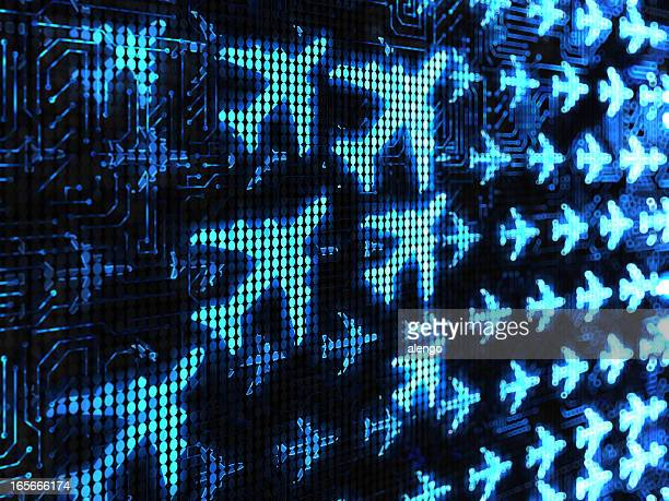 Light blue airplane images on digital screen