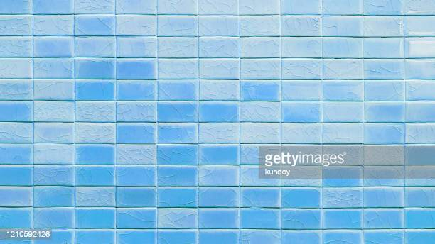 light blue mosaic tiles texture background. - tiled floor stock pictures, royalty-free photos & images
