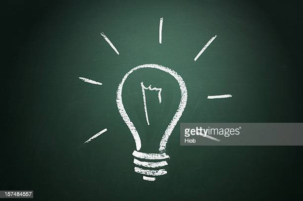 Light bulb drawn in white chalk on a blackboard