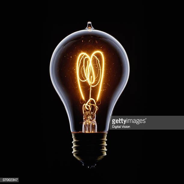 Light bulb filament glowing, close-up