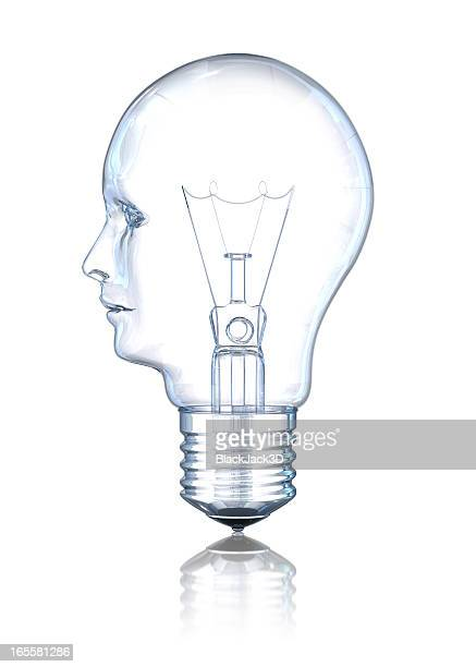 light bulb head (profile) - glass material stock pictures, royalty-free photos & images