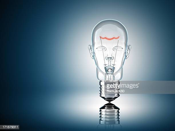 light bulb head - glass material stock pictures, royalty-free photos & images