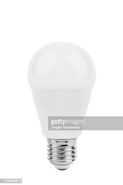 led light bulb isolated on white background - energy efficient lightbulb stock pictures, royalty-free photos & images