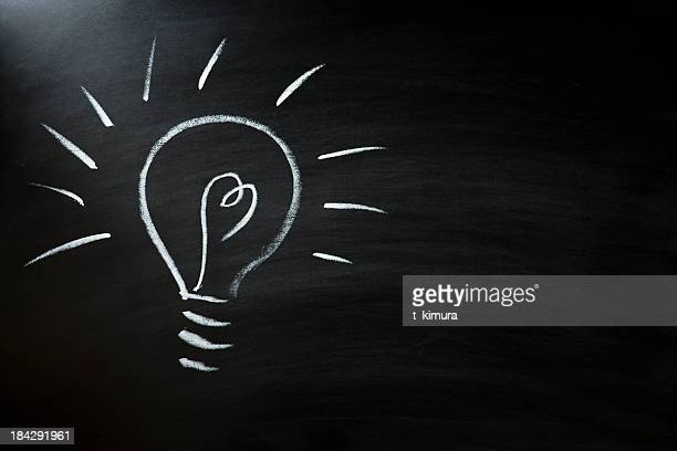 light bulb on blackboard - patent stock pictures, royalty-free photos & images
