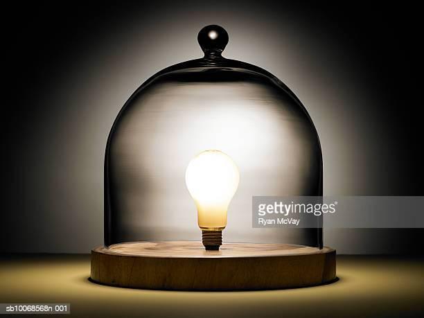 電球のガラスドームの下