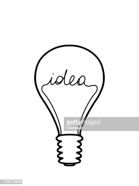 light bulb with the word idea - single word stock pictures, royalty-free photos & images