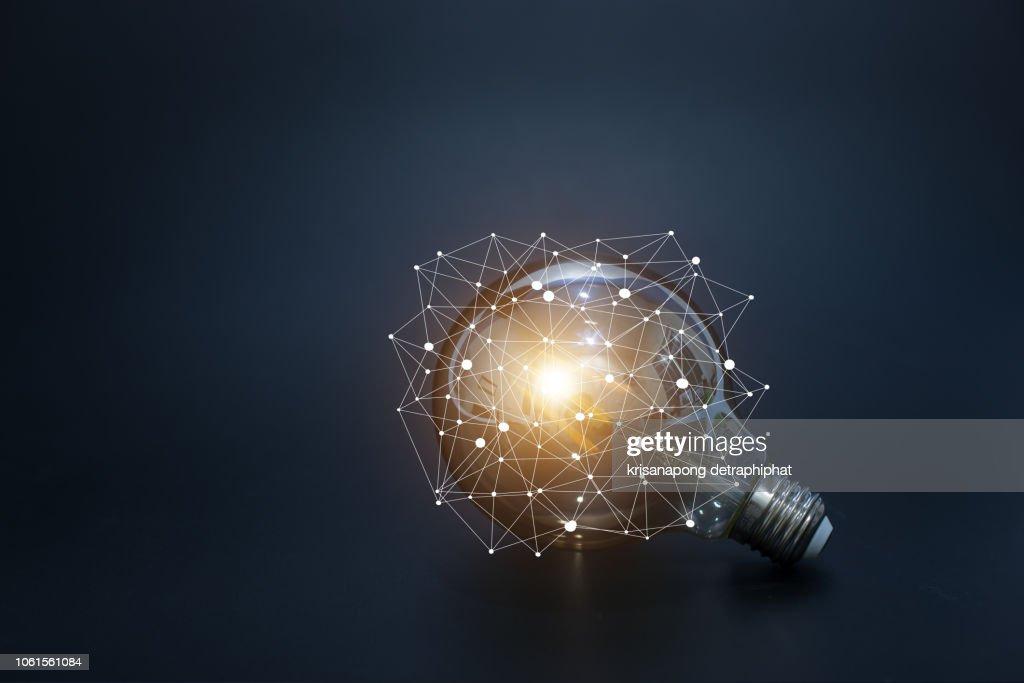 light bulbs concept,ideas of new ideas with innovative technology and creativity. : Stock Photo