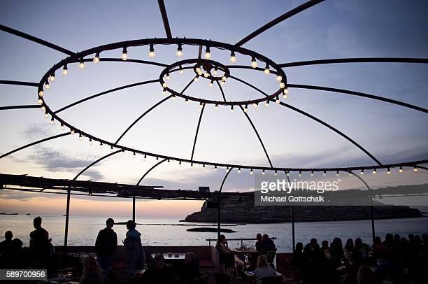 Light Bulbs in Ashram Sunset Club at cala comte beach on Ibiza island on May 12 2016 in Sant Josep de sa Talaia Spain
