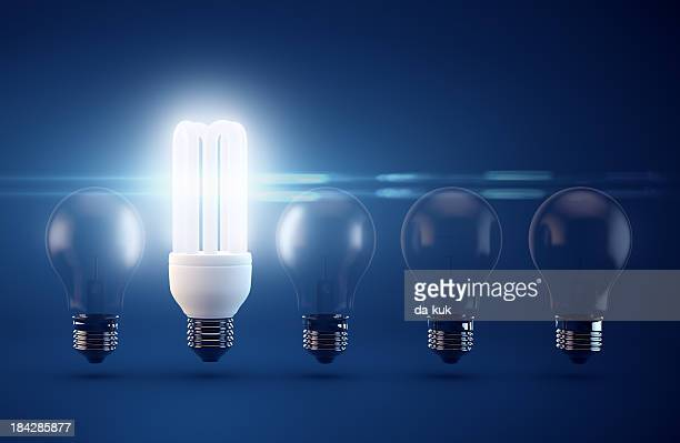 light bulbs - energy efficient lightbulb stock photos and pictures