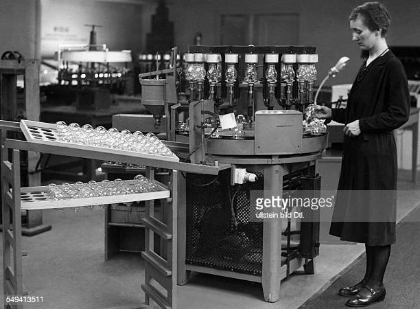 Light Bulp Museum in Berlin by the Osram company lighting manufacturer apparatus for light bulp production 1932 Photographer Sennecke Vintage...