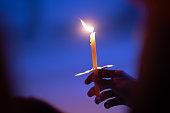 Light candle buring in celebration and spirit meditation