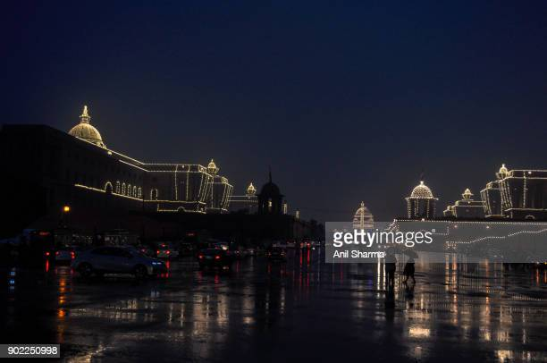 light decoration at the president house and parliament house on the eve of india's republic day 2017 - air force memorial stock pictures, royalty-free photos & images