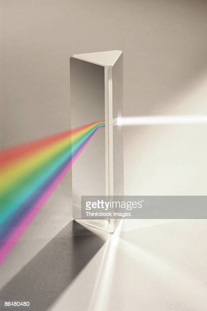 Light diffracting through prism into rainbow