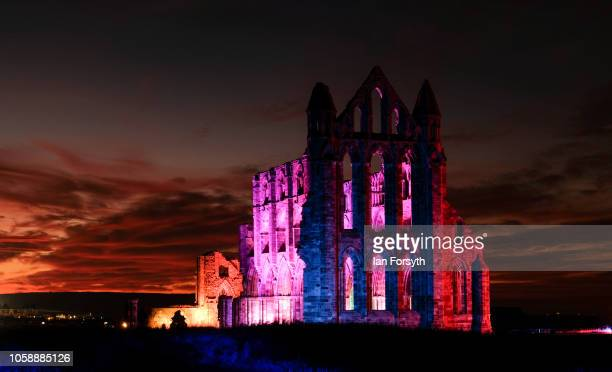 A light display illuminates the historic Whitby Abbey on October 24 2018 in Whitby England The abbey will be illuminated over Halloween Week and...
