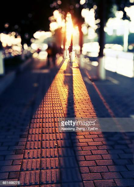 Light Falling On Paved Street At Night