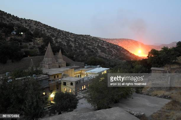 Light falls over the Yazidi pilgrimage site of Lalish, Kurdistan Region, Iraq