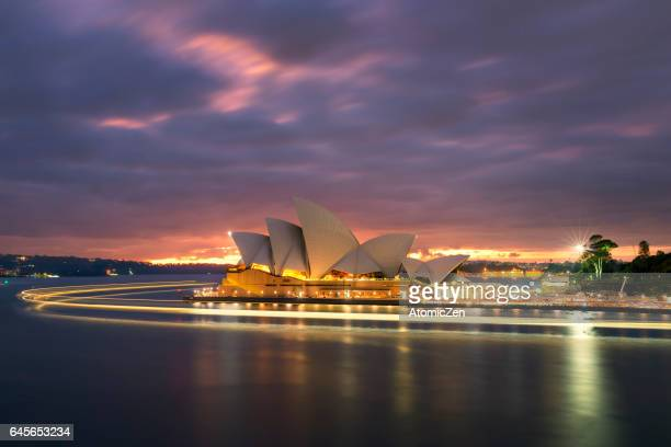 light flow of sydney opera house - sydney opera house stock pictures, royalty-free photos & images
