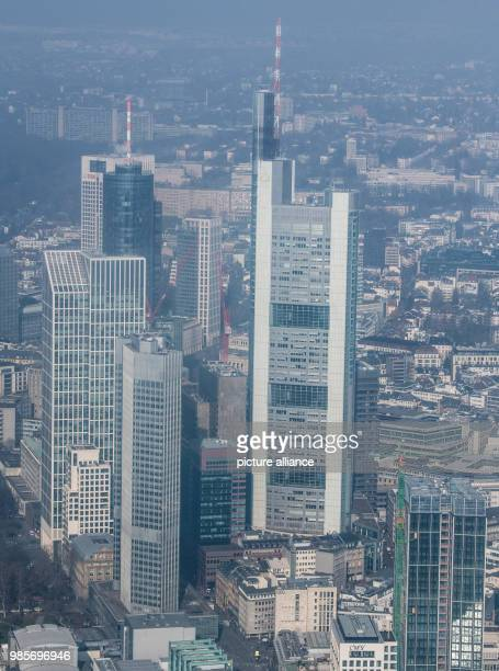 Light fog hanging over the banking skyline of the metropolis on the Main during an inspection flight of the Federal Police in Frankfurt am Main,...