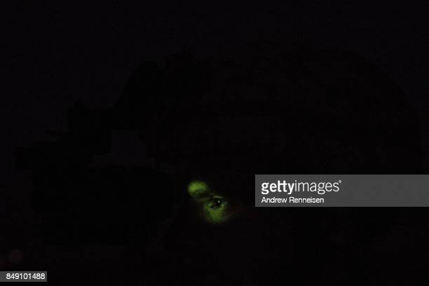 Light from a pair of night vision goggles illuminates the eye of a US marine during a night training of Afghanistan Special Forces on September 10...