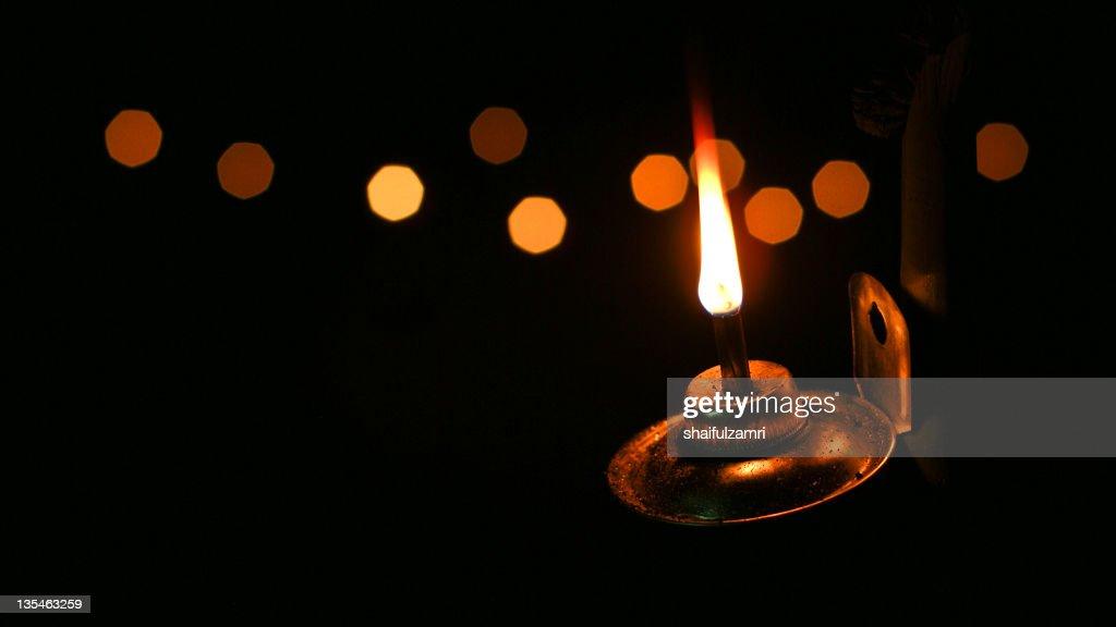 Light from kerosene lamp : Stock Photo