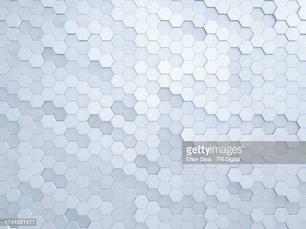 light grey background made of hexagon shape - honeycomb stock pictures, royalty-free photos & images