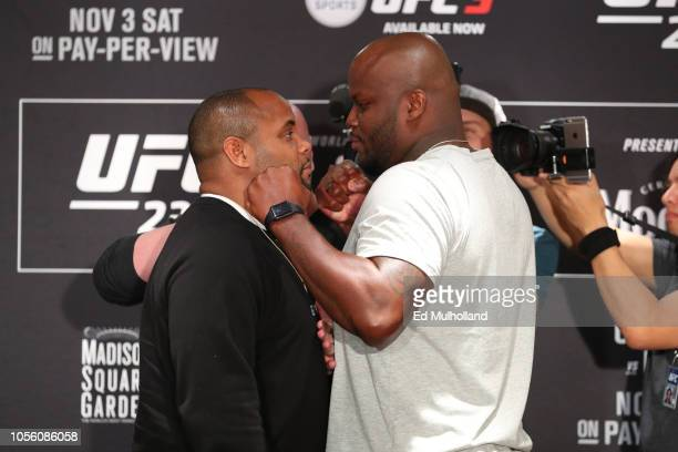 UFC light heavyweight and heavyweight champion Daniel Cormier and Derrick Lewis pose for media during the UFC 230 ultimate media day at the New York...