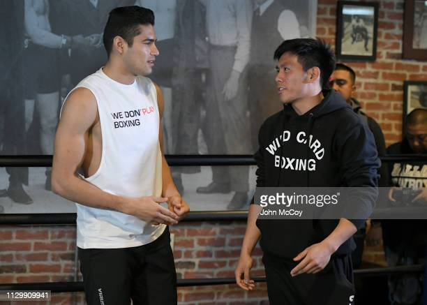 Light heavyweight boxer Gilberto Zurdo Ramirez talks with his trainer Julian Chua during a workout out at Fortune Gym on March 11 2019 in Los Angeles...