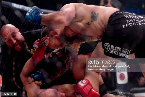 Light heavyweight champ Ryan Bader defeats Fedor Emelianenko via KO in the first round to win the Heavyweight Grand Prix during Bellator 214 at the...