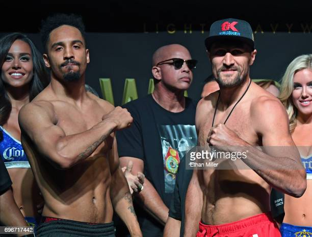 WBO light heavyweight champion Andre Ward and former champion Sergey Kovalev pose during their official weighin at the Mandalay Bay Events Center on...