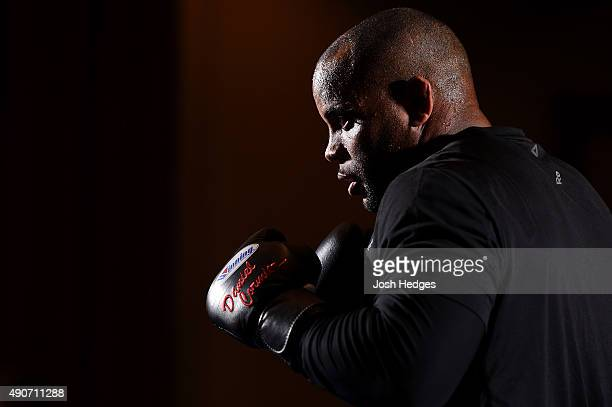 UFC light heavyweight champion Daniel Cormier holds an open training session for fans and media at the Westin Hotel on September 30 2015 in Houston...