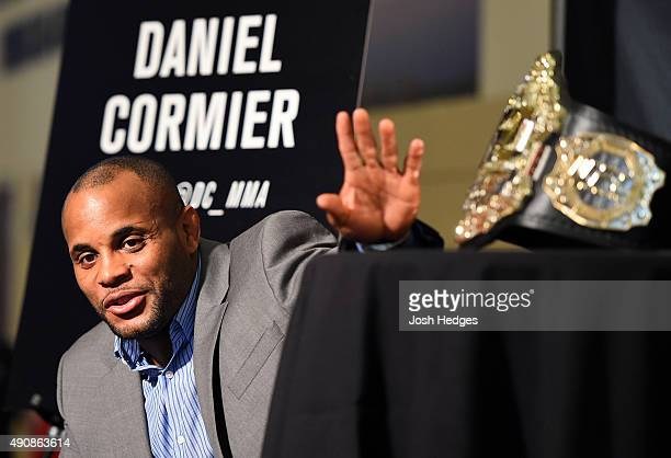 UFC light heavyweight champion Daniel Cormier interacts with media during the UFC 192 Ultimate Media Day at the Toyota Center on October 1 2015 in...