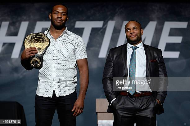 UFC light heavyweight champion Jon Jones and challenger Daniel Cormier pose for the media during the UFC Time Is Now press conference at The Smith...