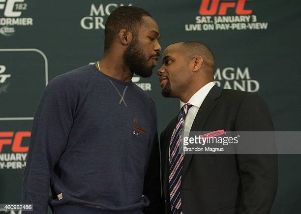 UFC light heavyweight champion Jon Jones and Daniel Cormier face off during the UFC 182 Media Day at the MGM Grand Hotel and Casino on January 1 2015...