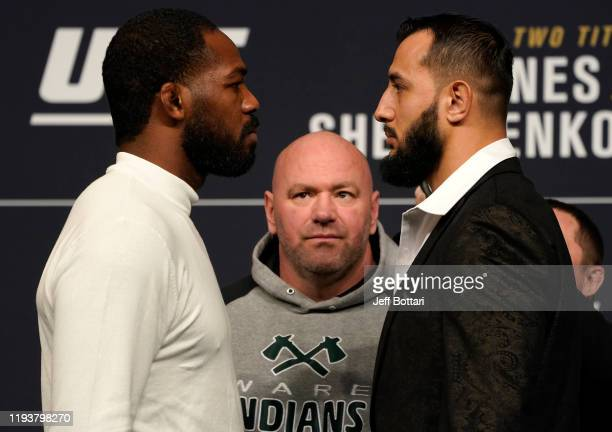UFC light heavyweight champion Jon Jones and Dominick Reyes face off during the UFC 247 press conference at TMobile Arena on December 13 2019 in Las...