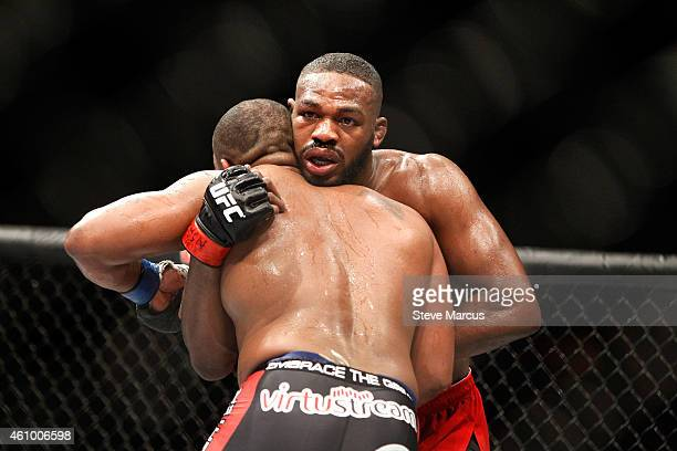 Light heavyweight champion Jon Jones grapples with Daniel Comier during the UFC 182 event at the MGM Grand Garden Arena on January 3 2015 in Las...