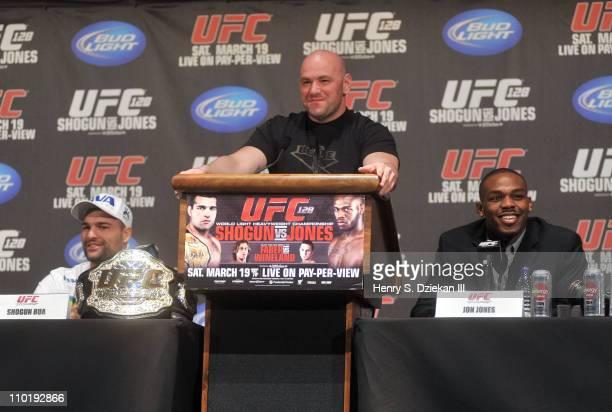 Light Heavyweight Champion Mauricio 'Shogun' Rua UFC President Dana White and UFC Light Heavyweight Jon 'Bones' Jones attend the UFC 128 Press...