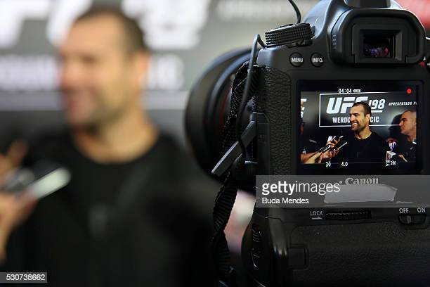 Light heavyweight contender Mauricio Shogun Rua of Brazil speaks to the media after an open training session at Arena da Baixada stadium on May 11...