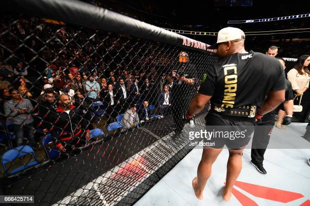 UFC Light Heavyweight Jimi Manuwa taunts UFC Light Heavyweight Champion Daniel Cormier from the stands during the UFC 210 event at the KeyBank Center...