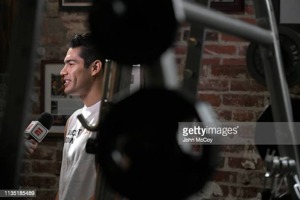 Light heavywieght boxer Gilberto Zuerdo Ramirez does an interview at Fortune Gym on March 11 2019 in Los Angeles California
