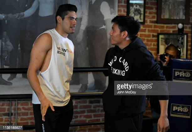 Light heavywieght boxer Gilberto Zuerdo Ramirez talks with his trainer Julian Chua during a workout at Fortune Gym on March 11 2019 in Los Angeles...